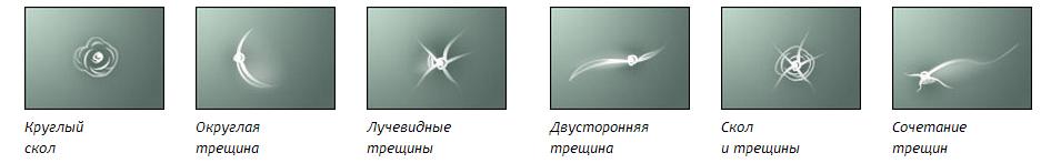 виды повреждений лобового стекла автомобиля фото